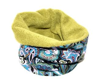 """Dogs loop tube scarf """"Paisley"""" blue olive, Hundeloop"""