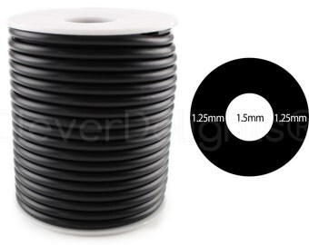 """10 Ft - Black Rubber Cord - 4mm (1/8"""") - Hollow Rubber Tubing - 1/8"""" OD x 1/16"""" ID - For Beading, Jewelry, Repairs - Premium Rubber Tube"""