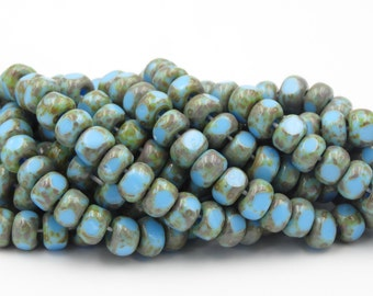 2/0  Blue Turquoise Picasso 3 Cut Glass Seed Bead  1 Strand