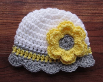 Crocheted Baby Girl Hat ~ White, Daffodil Yellow & Silver Gray ~ Baby Shower Gift ~ Newborn Photo Prop ~ Newborn to 5T ~ MADE TO ORDER