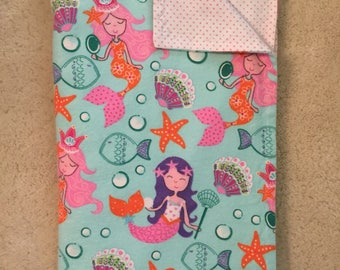 Mermaid Flannel blanket, Sealife flannel blanket, Seashell flannel blanket