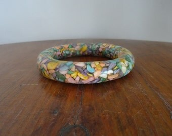 60's Bracelet Confetti Resin Bangle Tube Chunky Bracelet