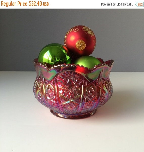 ON SALE Indiana Glass Co Heirloom Sunset Red Hobstar and Arches Bowl, Vintage 70s Carnival Glass