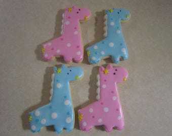 1 Dozen Giraffe Hand Decorated Cookies