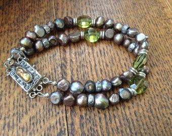 Handcrafted Sterling and Brown Pearl Bracelet