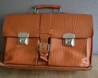 Vintage leather schoolbag