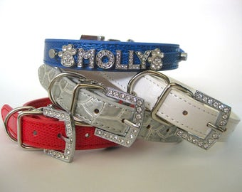 Name Crystal Bling Rhinestone Dog Collar | Personalized Red Blue White or Silver | Bling Dog Collar or Cat Collar | XXS S M L XL
