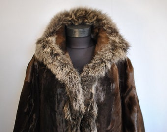 Vintage PONY HAIR fashion  fur jacket with fox fur collar ......(185)
