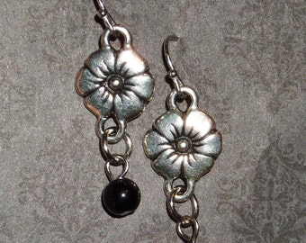 Antiqued Silver Plated Flower Drop with Black Glass Dangle Earring