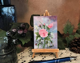 Pink Roses, ACEO,  Artist Trading Card, Miniature Original Oil Painting, 2.5'' x 3.5''