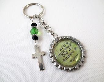 Christian Faith  Bottle Cap Key Chain Green