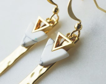 Earrings, Modern white marble chevron and hammered gold dangle earrings