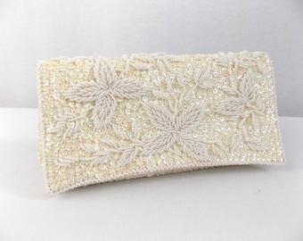 VTG White Ivory Sequin Beaded Clutch Handbag