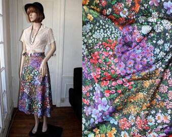 60s floral skirt wrap over multicolor flowers long skirt high waist romantic bucolic hippie boho vintage skirt - One Size