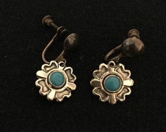 Vintage Mid Century Screw Back On Sterling Silver and Turquoise Earrings Southwestern Native American Design