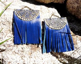 Summer Outdoors Summer Party Fringe Earrings Tassel Leather Earrings Boho Earrings Blue Leather Earrings  Sterling Silver Earring Hook