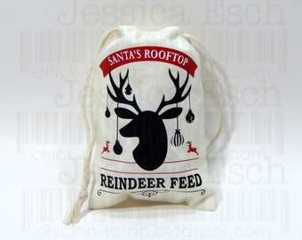 "Reindeer Feed Custom 3.25 X 5"" Canvas Bag~ Holiday Gift Giving, Reindeer Food,"