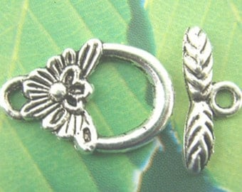4 Antiqued Silver  Small Pineapple/Flower Toggle Clasp Sets