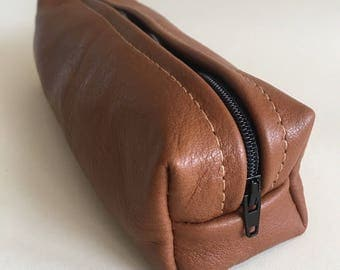 Leather Pencil case, leather makeup bag, cosmetic case, handmade genuine tan leather