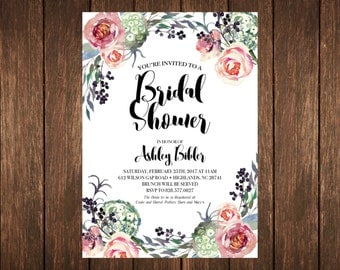 Floral Modern Bridal Wedding Shower Invitation