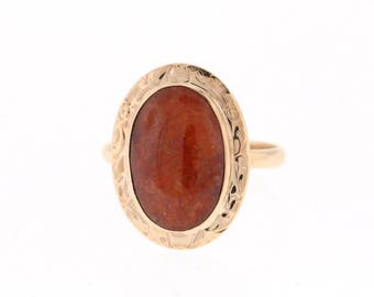 Vintage Red Jade Ring, Rose Gold Red Jade Ring, Engraved