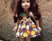 Sleeveless Doll Dress for slim 18 inch Dolls made with Aboriginal Print Fabric