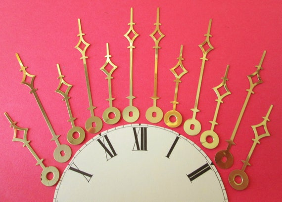 "6 Pairs of New Large Brass Plated Terry Style Clock Hands for your Clock Projects, Jewelry Making, Steampunk Art and Etc...2 3/4"" and 4"""