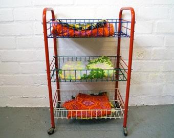 Vintage wheeled storage rack