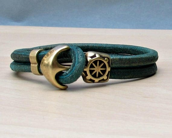 Turquoise Anchor Bracelet Mens Turquoise Leather Cord Bracelet Cuff Sailing Bracelet Customized On Your Wrist.