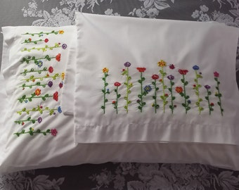 Hand-embroidered Cotton/Polyester Pillowcases set of 2 Flower Pattern Super Cute!
