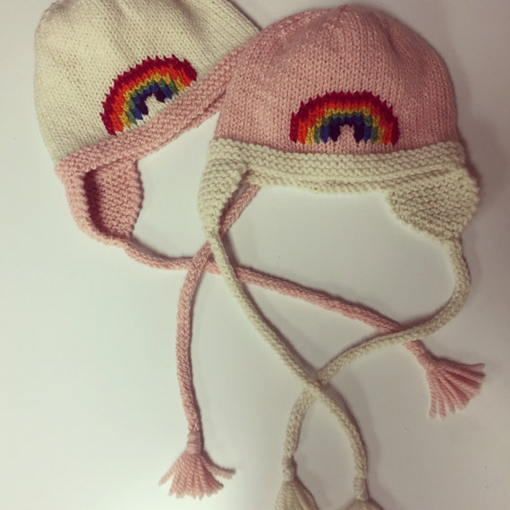Hand-Knit Rainbow Hat with Earflaps for Baby/Child -  Shown in light pink/off-white