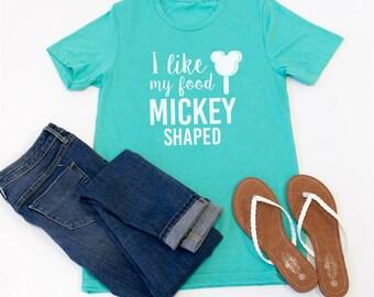 I Like My Food Mickey Shaped Tshirt - Womens Clothing. Womens Tshirt. Graphic Tee - Tickled Teal
