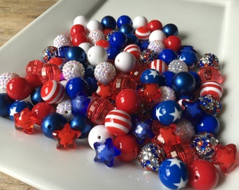 100 Piece Bulk Lot, 20mm Red White and Blue Chunky Beads, Acrylic Assortment, DIY Mix Wholesale Lot, Rhinestone, Solids, Stars and Stripes