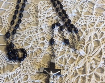 Vintage Rosary Catholic Ebony Oval Beads-Religious Collectibles-Catholic Rosaries