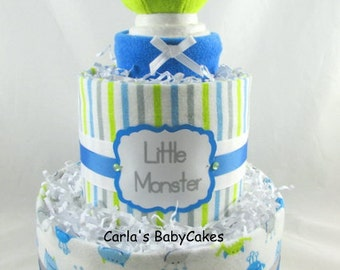 Monster diaper cake | Boy diaper cake | Baby diaper cake | Baby shower gift | Baby shower decoration | New mom gift | Baby sprinkle gift