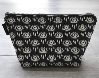 black and white eye print - lined canvas zippered pouch - all over graphic