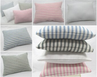 Doll Bed Pillow - Choice of Color and Sizes - White, Pink Blue or Green / Cream Ticking Stripe - Custom Sizes Available