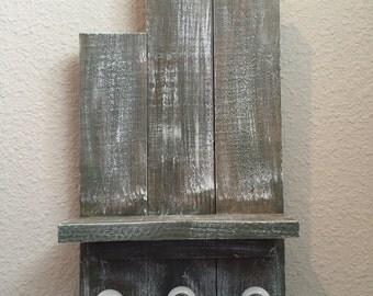 Wall Shelf with Door Knob Hangers
