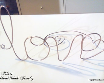 LOVE Wire Wedding Cake Topper Stand HandMade - Love - word name stand multiple colors of Wire Personalized Name cake topper