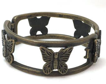 Butterfly Openwork Hinged Clasp Butterfly Bracelet, Distressed Bronze Colored Insect Bangle