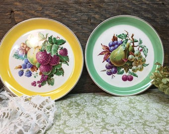 Vintage W.S. George Plates/Fruit/Wall Plates/Yellow/Green