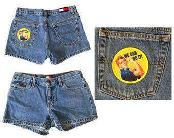 Rosie the Riveter Patch | Denim Shorts | 90s Low Rise Denim | Short Shorts | Tommy Hilfiger | Girl Power