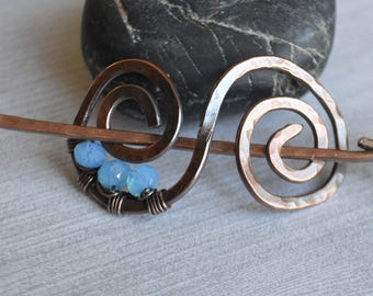 Copper Wire Hair Barrette - Aquamarine Crystal Copper Hair clip - Small Hair Barrette - Blue Crystal Hair Barrette - Blue Hair Accessory