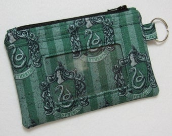 Harry Potter Hogwarts Slytherin Keychain ID Wallet, Student / Teacher / Work ID, Badge Holder, Coin Purse - 2 Options for ID Pocket