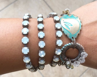Turquoise bird bracelet, wire work wrap bracelet, beaded wrap bracelet, cup chain bracelet, boho, gift for her, uk shop