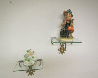 "2 vintage  Brass and Glass Wall Shelves , Nick knack Shelf,  5"" x 7"" glass top"