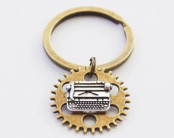 Writer Keychain, Typewriter Keychain, Writer Gifts, Blogger Gift, Author Gift, Novelist Keychain, Reader Keychain, Steampunk Keychain