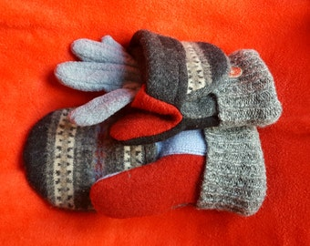 SALE!! GLITTENS! Convertible mittens,  Recycled Wool sweater, Snowflakes, Rhinestones,  touchscreen gloves, felted, flip back hood, medium