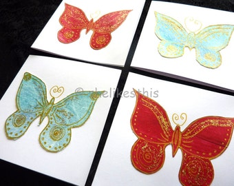 Handmade Blank greeting cards Butterfly cards set of 4 Note Cards with Envelope Thank You Cards