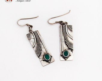 Rectangular Ornate Dangle Earrings Green Agate Accents Sterling Silver